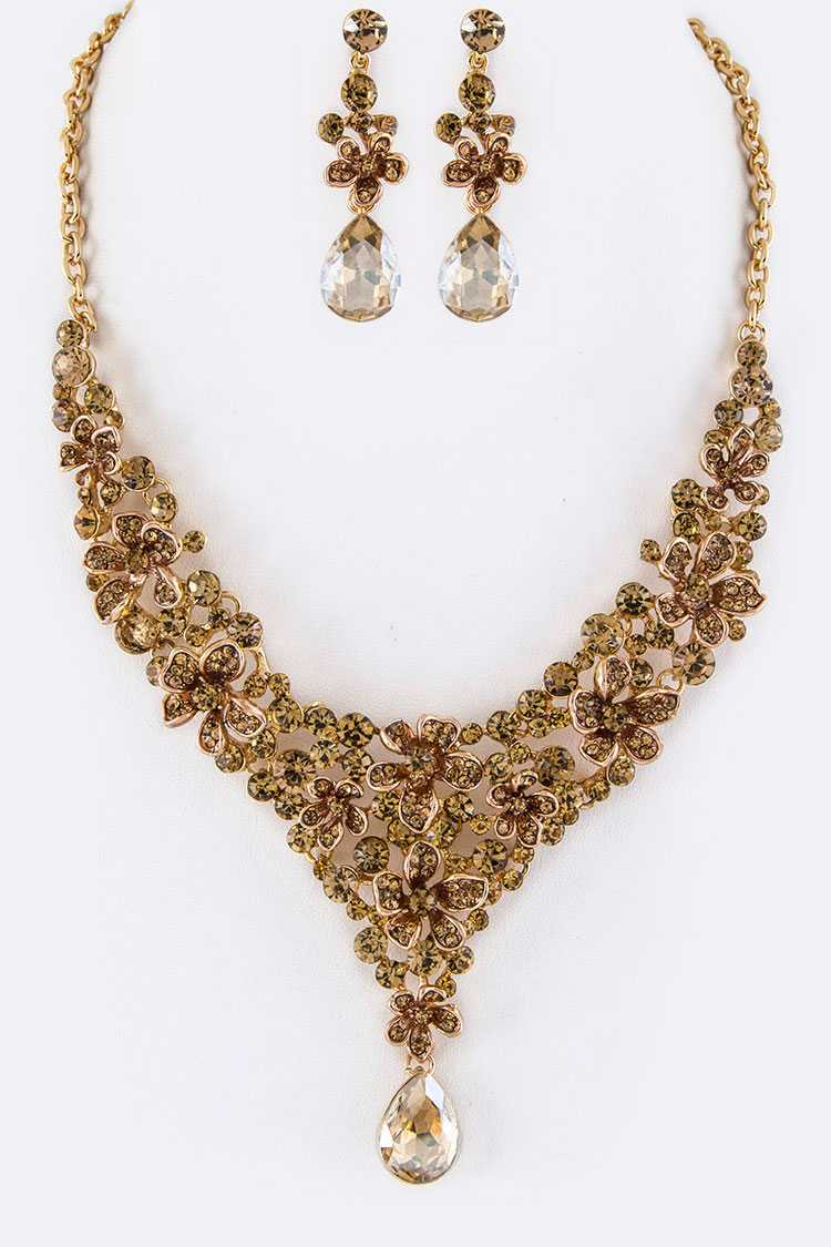Crystal Flower & Teardrop Statement Necklace Set