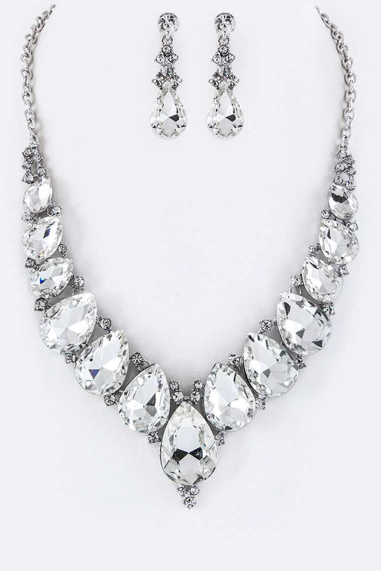 Teardrop Crystals Statement Necklace Set