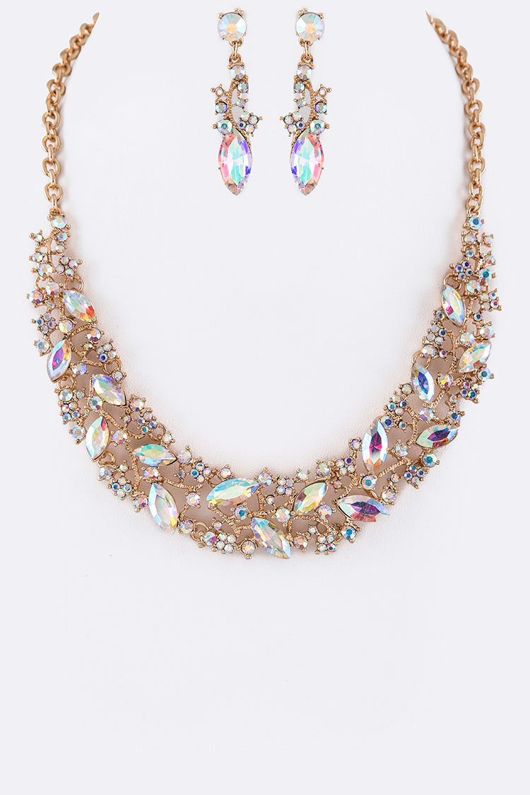 Crystal Leafs Statement Necklace Set