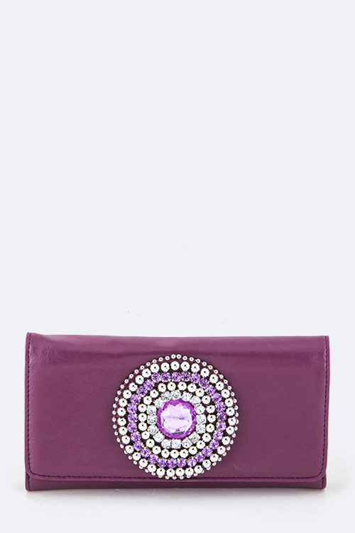 Crystal Medallion Tri-Fold Wallet