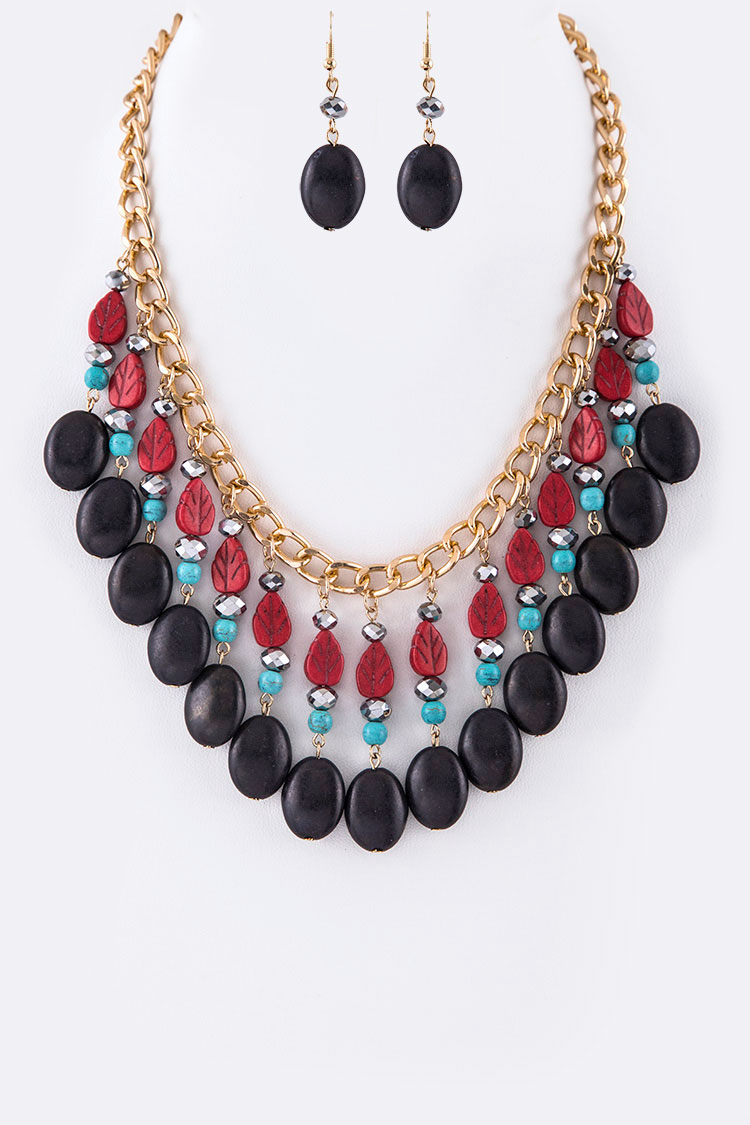 Carved Stone Leafs & Beads Statement Necklace Set