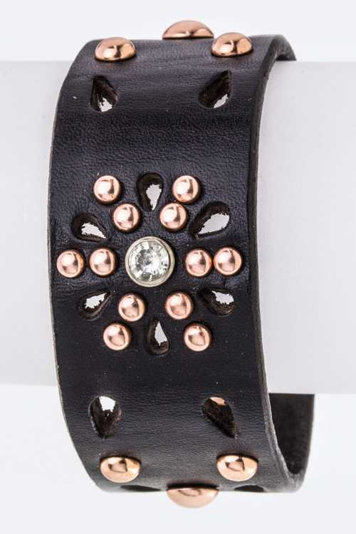 Mix Studs & Perforated Leather cuff