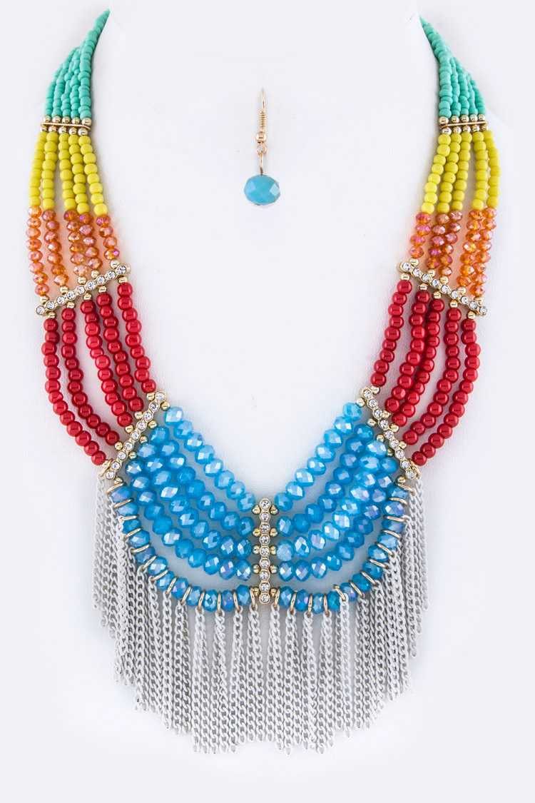 Mix Beads Layer & Fringe Chains Necklace Set