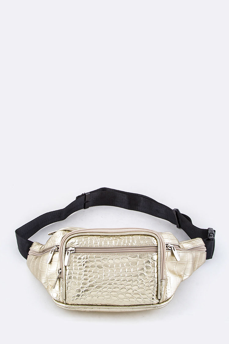 Croc Embossed Metallic Fanny Pack