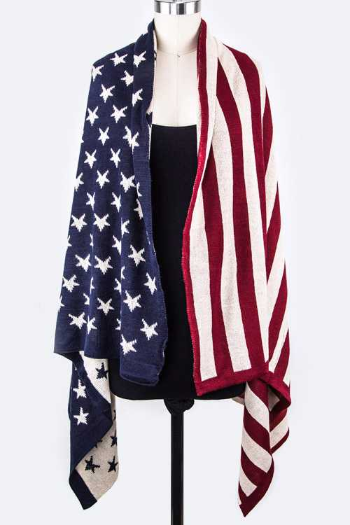 American Flag Knit Shawl