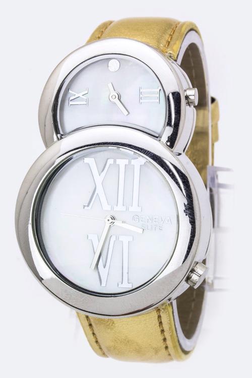 Roman Number Dual Timezone Watch