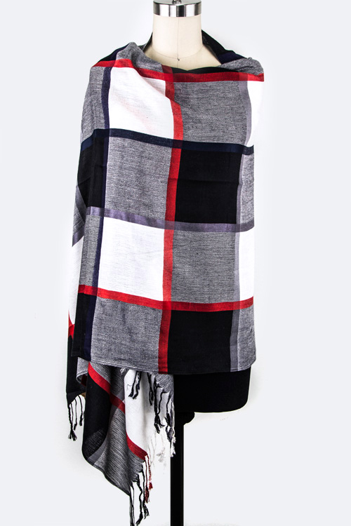 Mad For Plaid Fringe Shawl Scarf