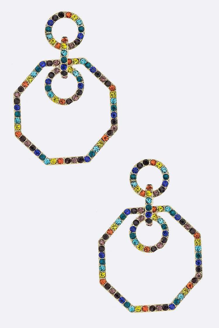 Rainbow Crystal Octagon Drop Iconic Earrings