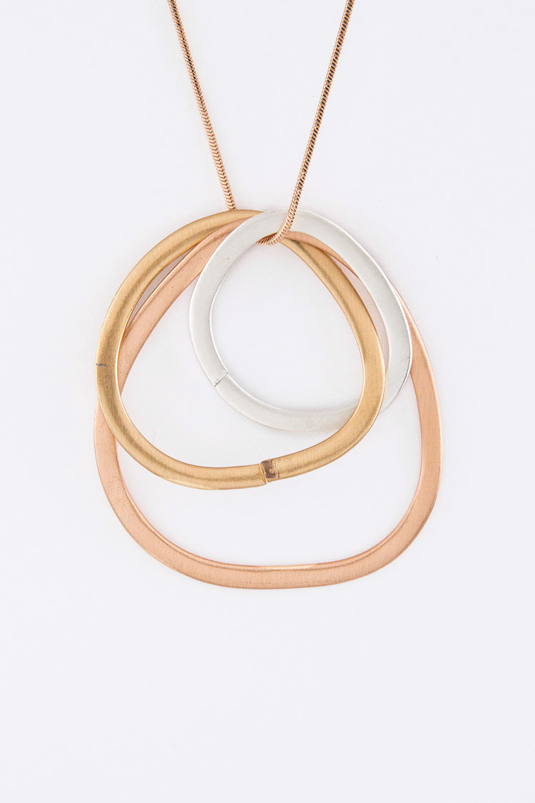 3 Tone Hoops Necklace Set