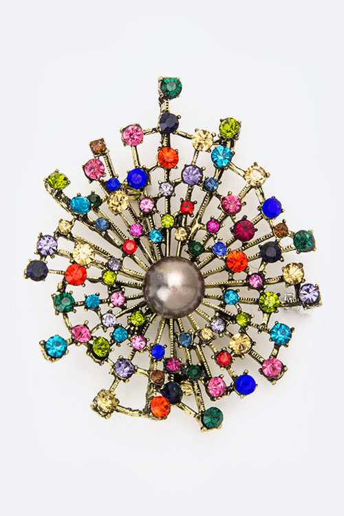 Pearl & Clustered Crystals Brooch