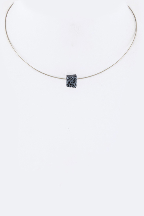 Petite Druzy Omega Chain Necklace