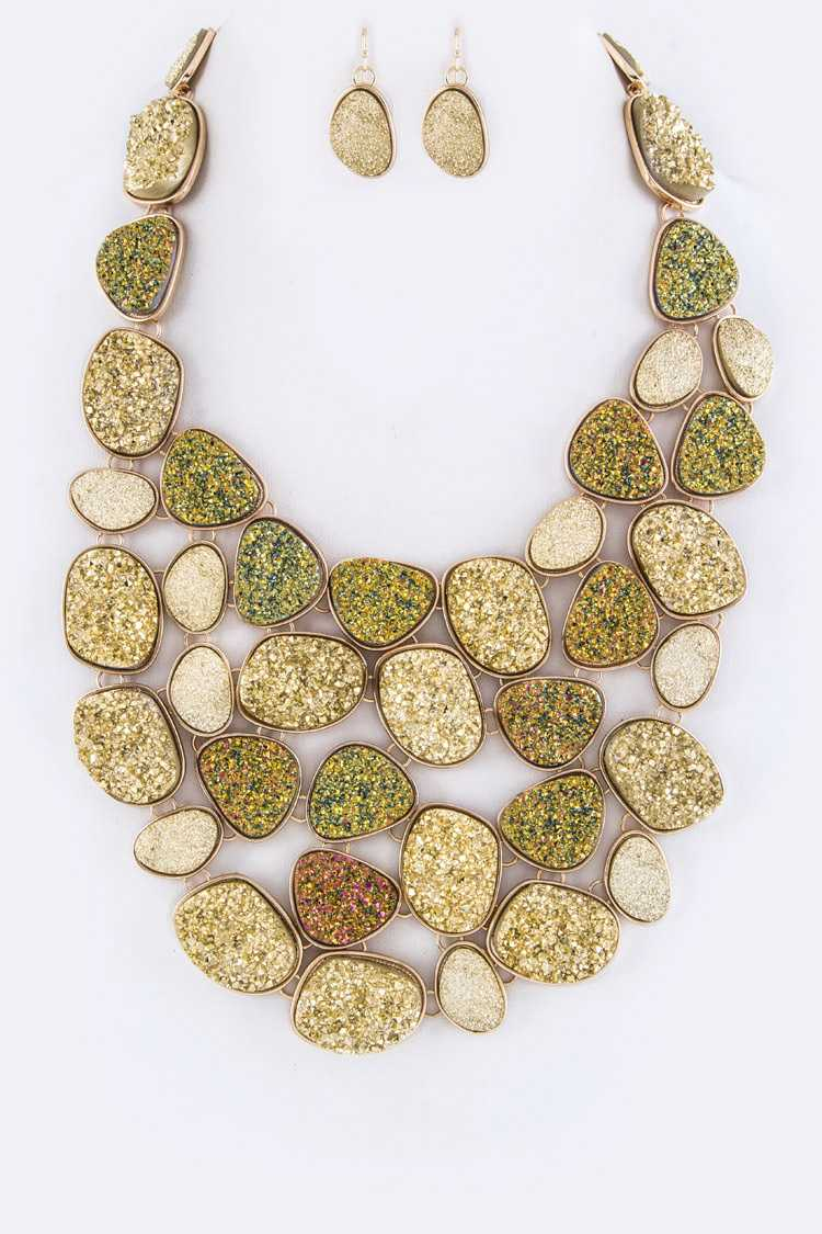 Gernuine Druzy Pebble Statement Necklace Set