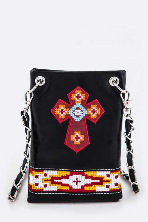 Tribal Embroidery Cross Iconic Swing Bag