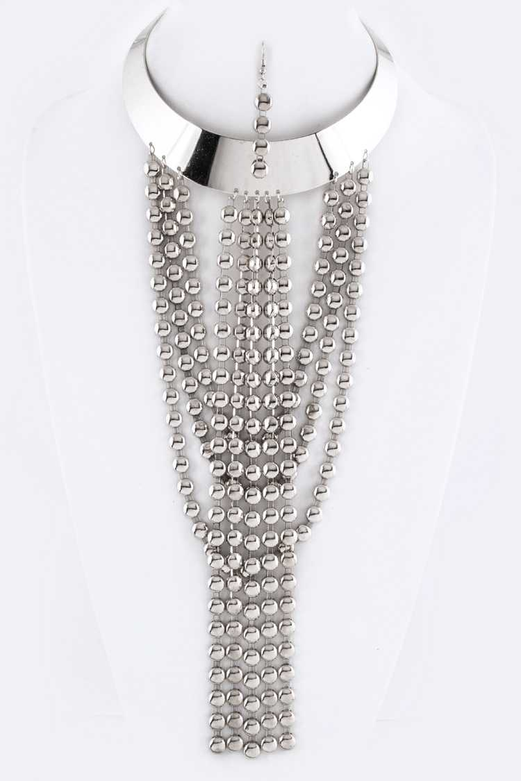 Disk Chains Metal Collar Necklace Set