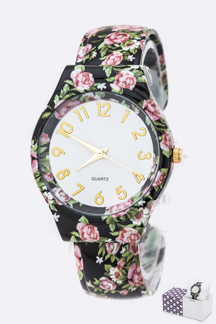 Flower Printed Bangle Watch Gift Set