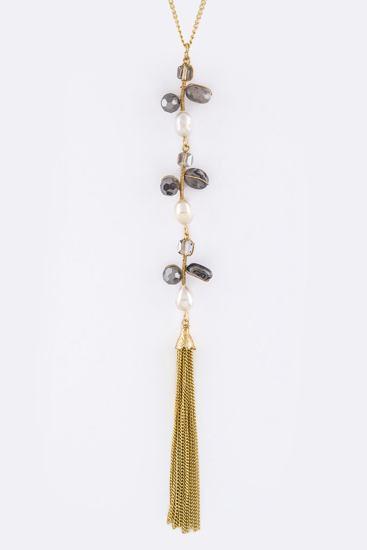 Mix Stones & Tassel Necklace