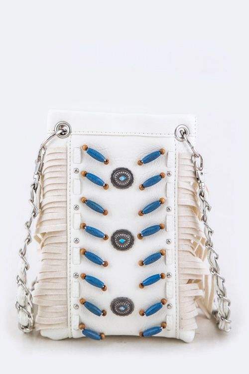 Concho, Beaded Fringe Suede Swing Bag