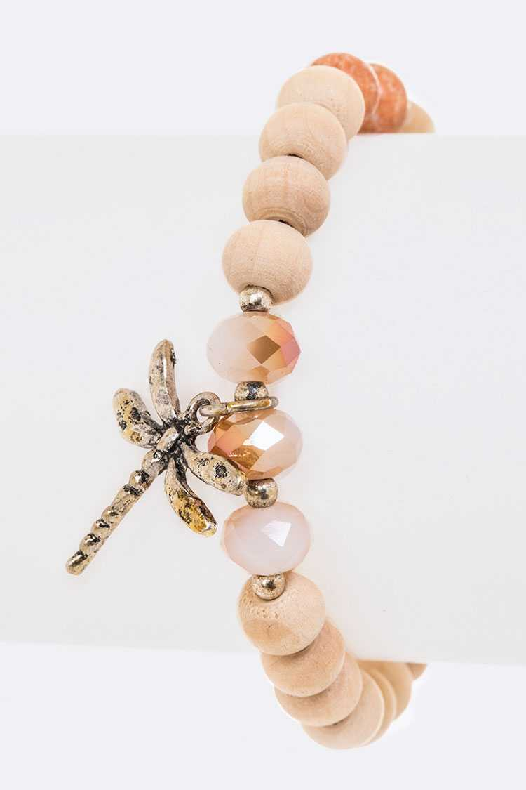 Dragonfly Pendant Wooden Mix Beads Stretch Bracelet