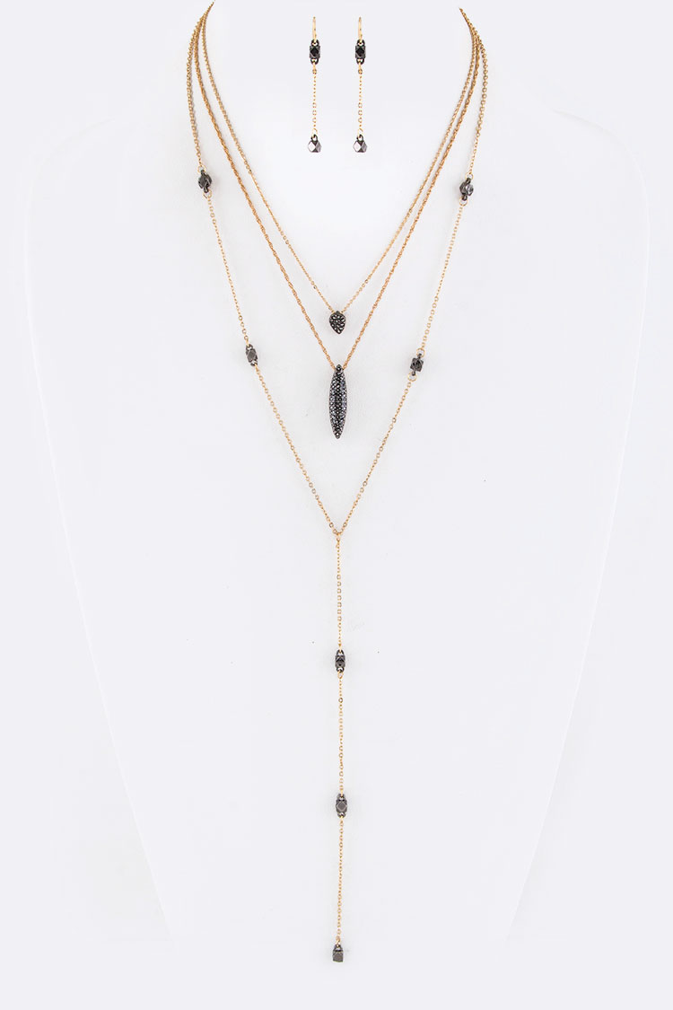 Metal Beads & Crystal charms Layer Necklace Set