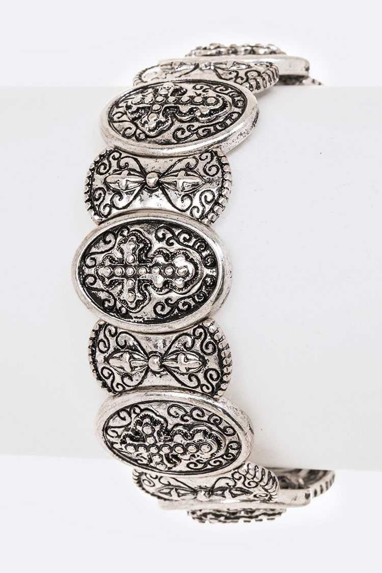 Cross Embossed Metal Stretch Bracelet