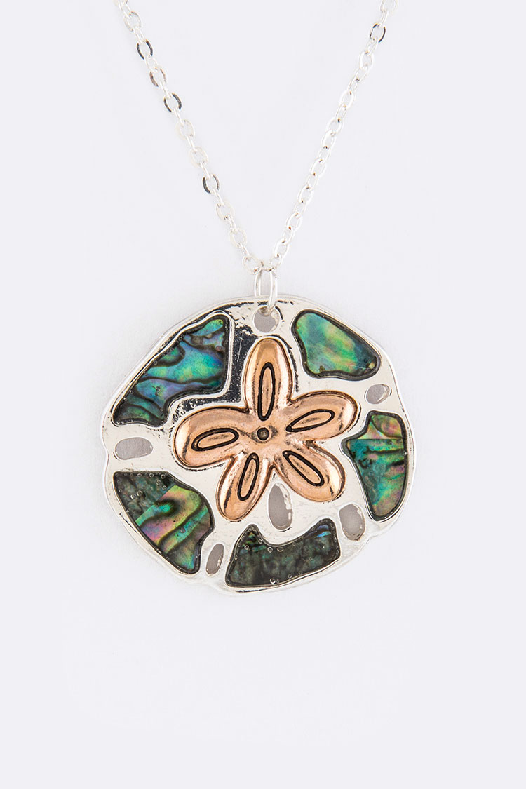 Pave Shell Sand Dollar Pendant Necklace Set