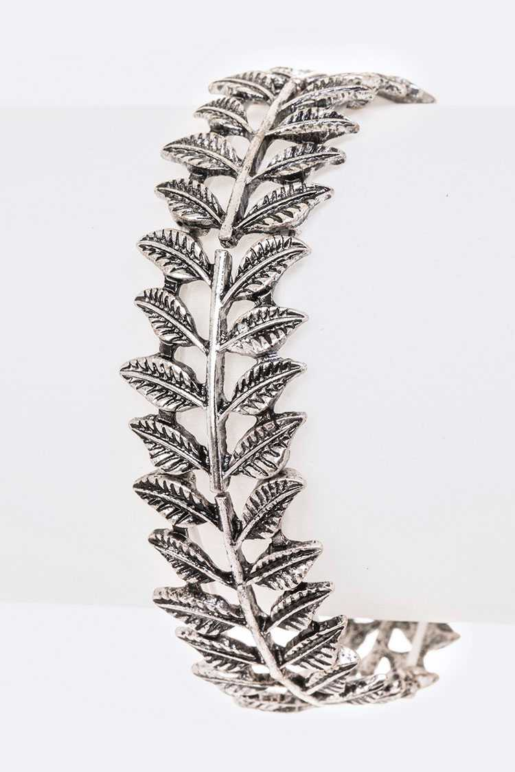 Metal Embossed Leaf Stretch Bracelet