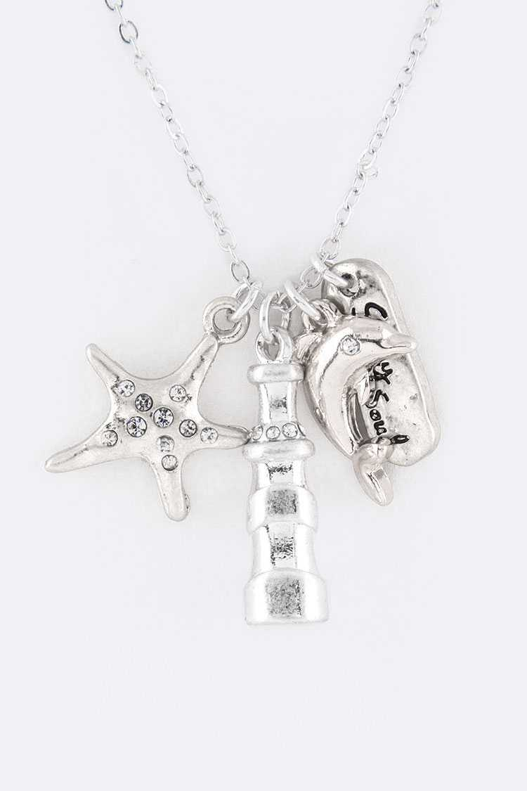 Dolphin Mix Charms Necklace Set