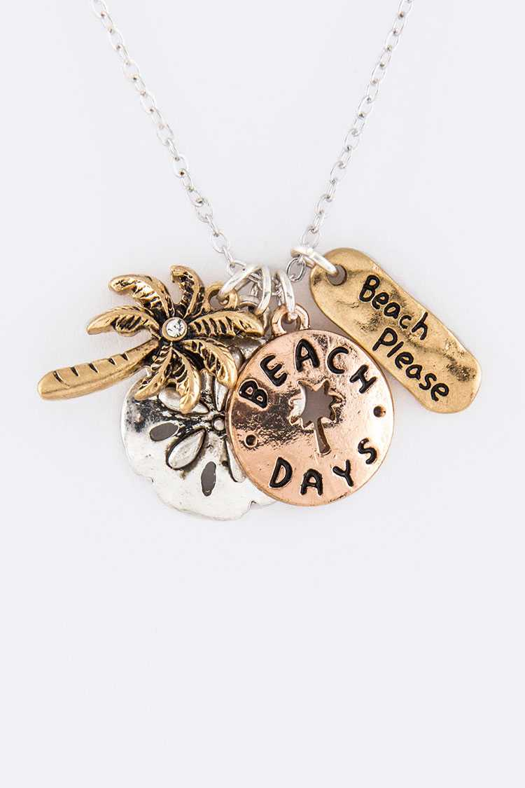 Beach Days Mix Charms Necklace Set