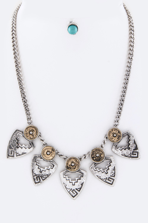 Tribal Arrowheads Statement Necklace Set