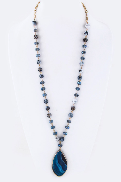 Semi Precious Bead & Agate Necklace Set