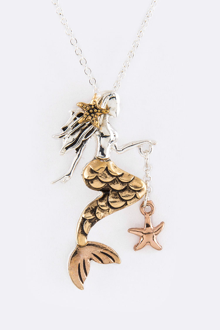 Mermaid Pendant Necklace Set