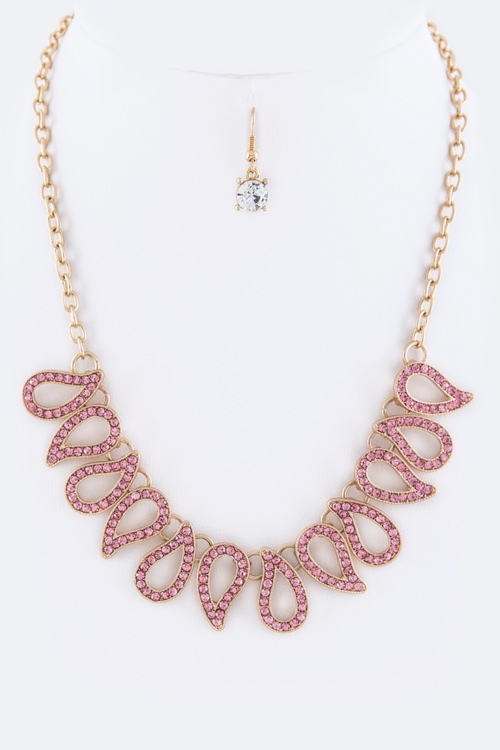 Paved Crystal Drops Statement Necklace Set