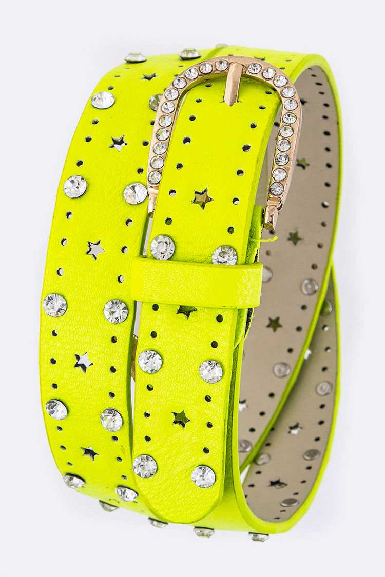 Crystal Perforated Fashion Belt
