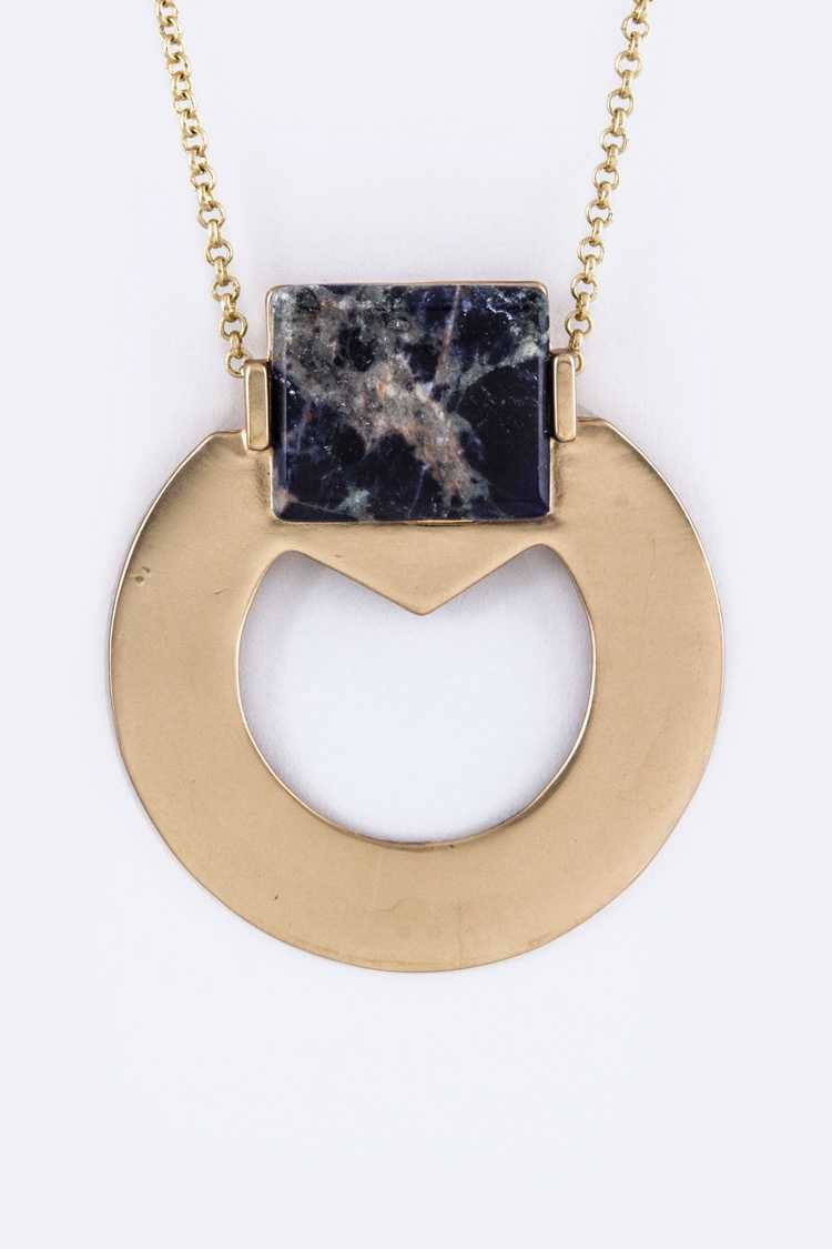 Paved Stone Metal Hoop Pendant Necklace