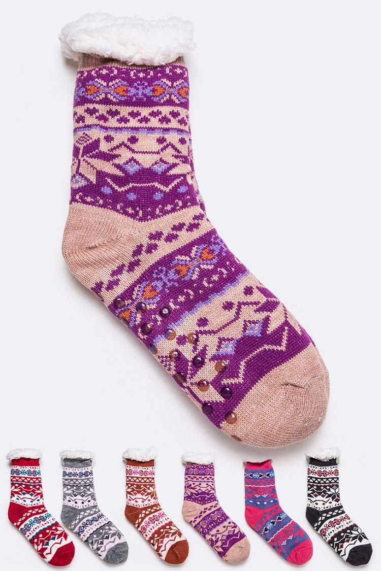 Fleeced Winter Indoor Non Slip Socks Set
