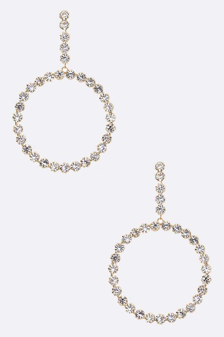 Crystal Statement Circle Drop Earrings