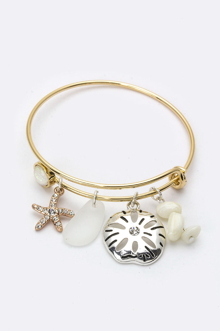 Sand Dollar Mix Charms Bangle