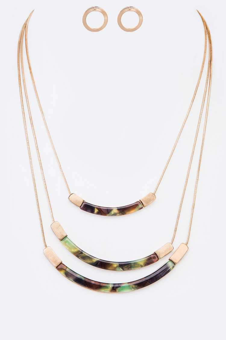 Camouflage Color Resin Bar Layer Necklace Set