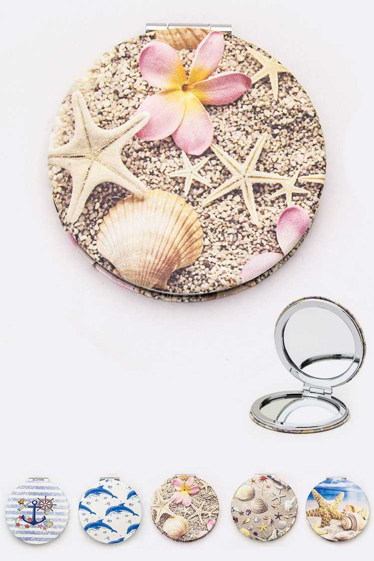 Assorted Shell Print Compact Mirrors Set