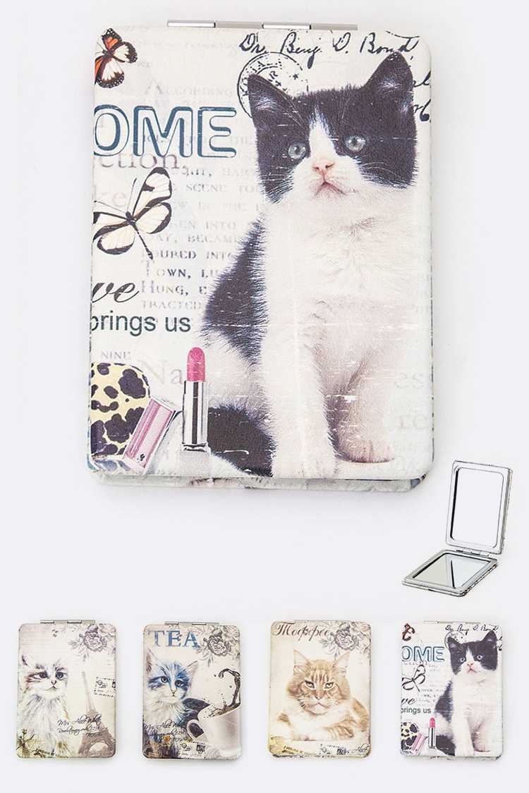 Assorted Cat Print Compact Mirrors Set