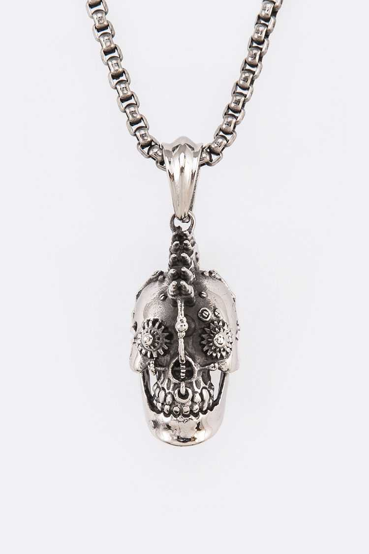 Stainless Steel Iconic Skull Pendant Necklace