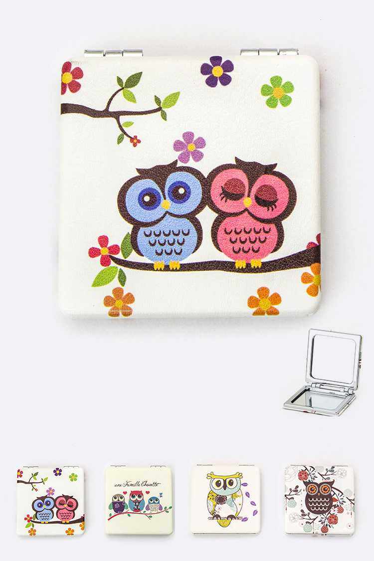 Assorted Owl Print Compact Mirrors Set