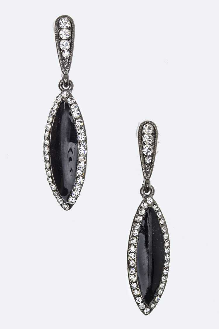Crystal & Enamel Oval Earrings