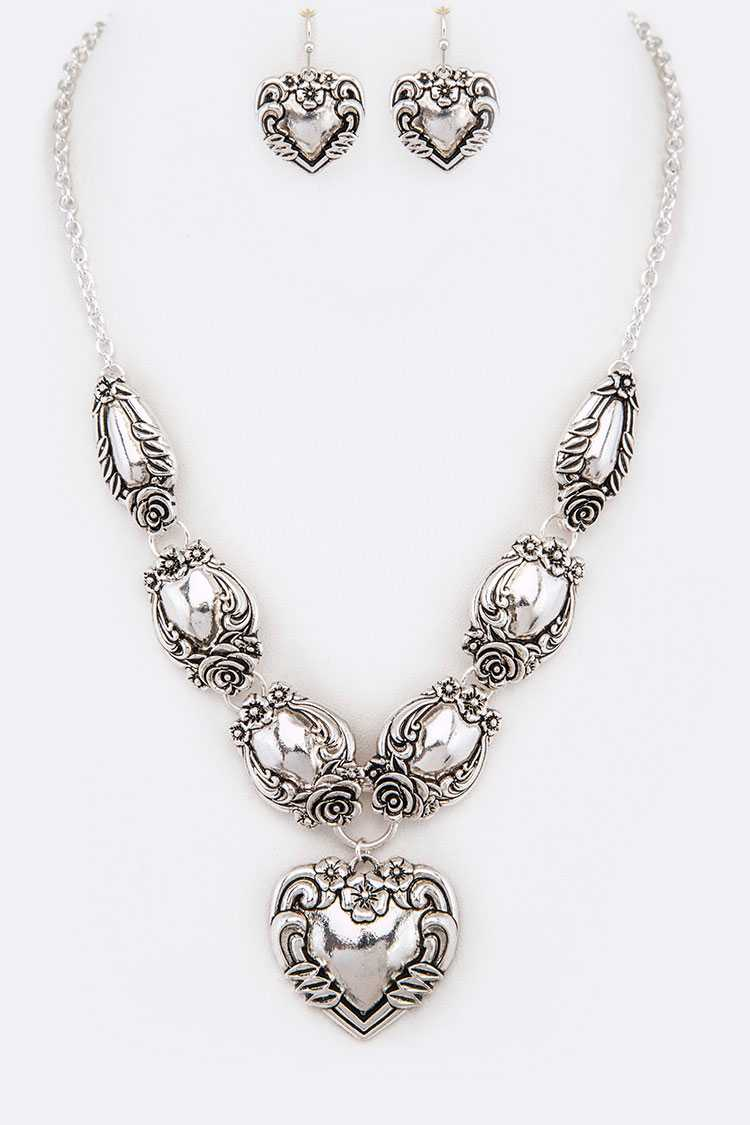 Embossed Puff Heart Pendant Necklace Set