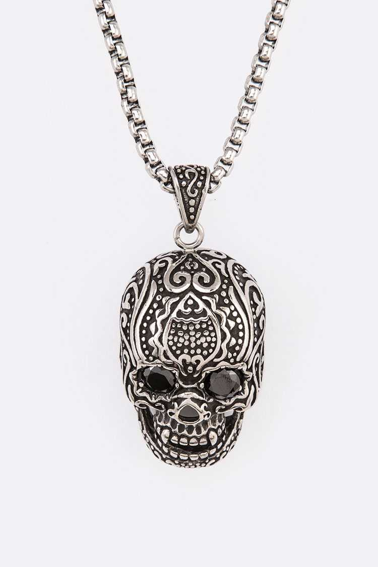 Stainless Steel Engrave Pendant Skull Necklace