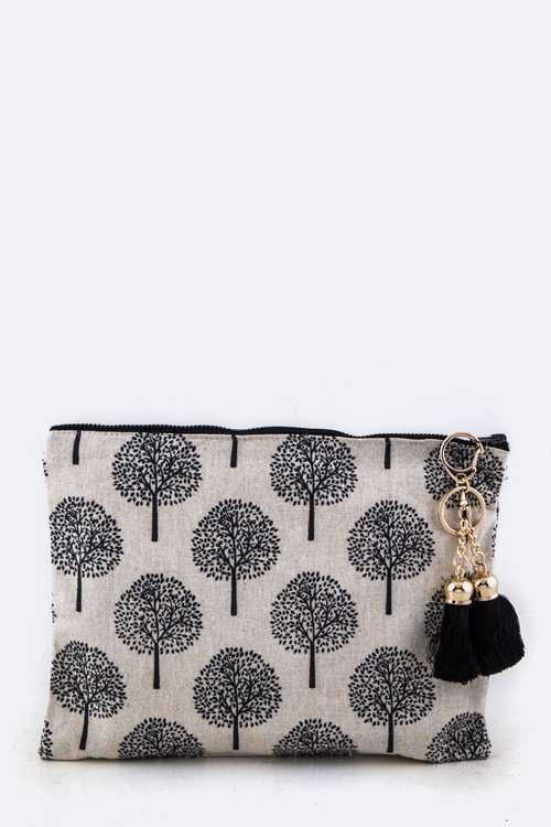 Tree Print Tasseled Pouch