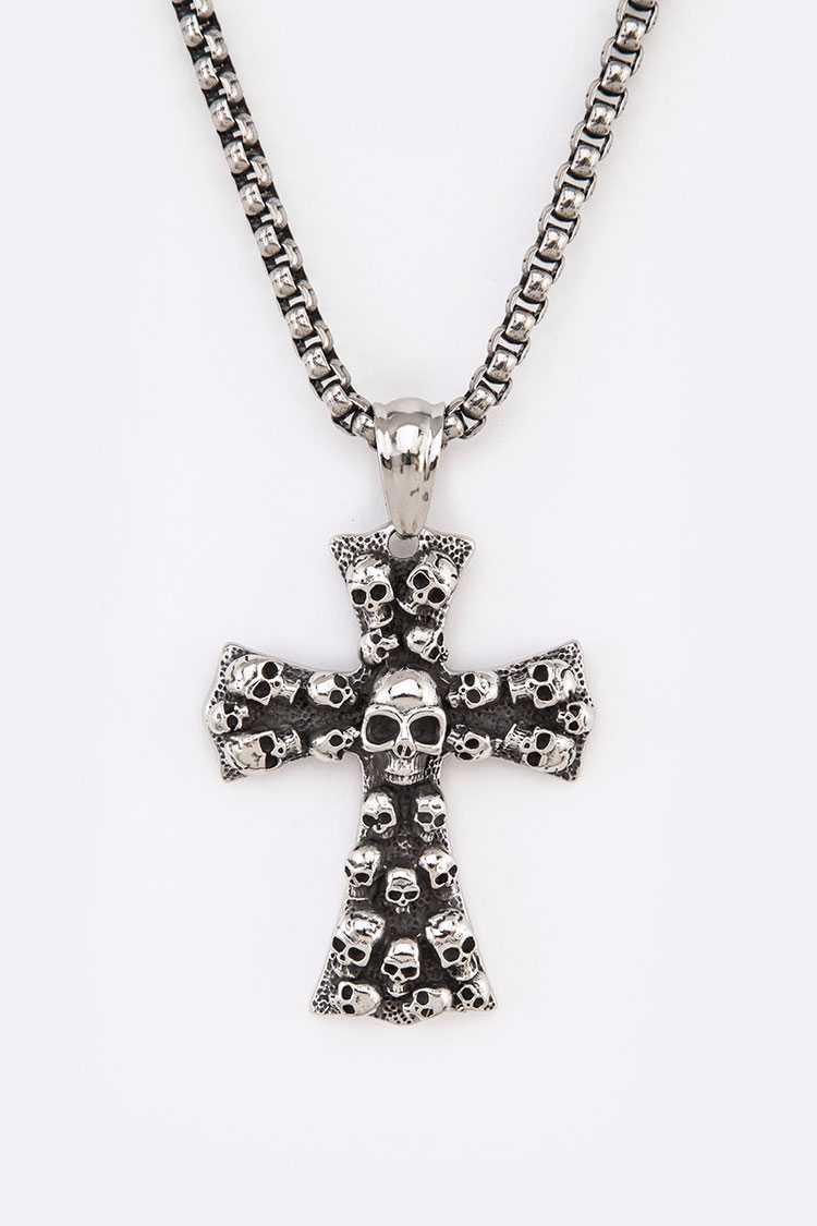 Stainless Steel Mix Skull Embossed Cross Pendant Necklace