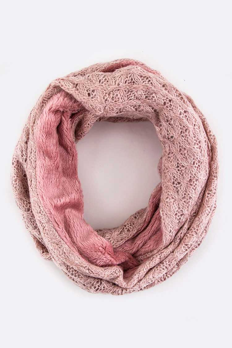 Plush Lined Mix Knit Infinity Scarf