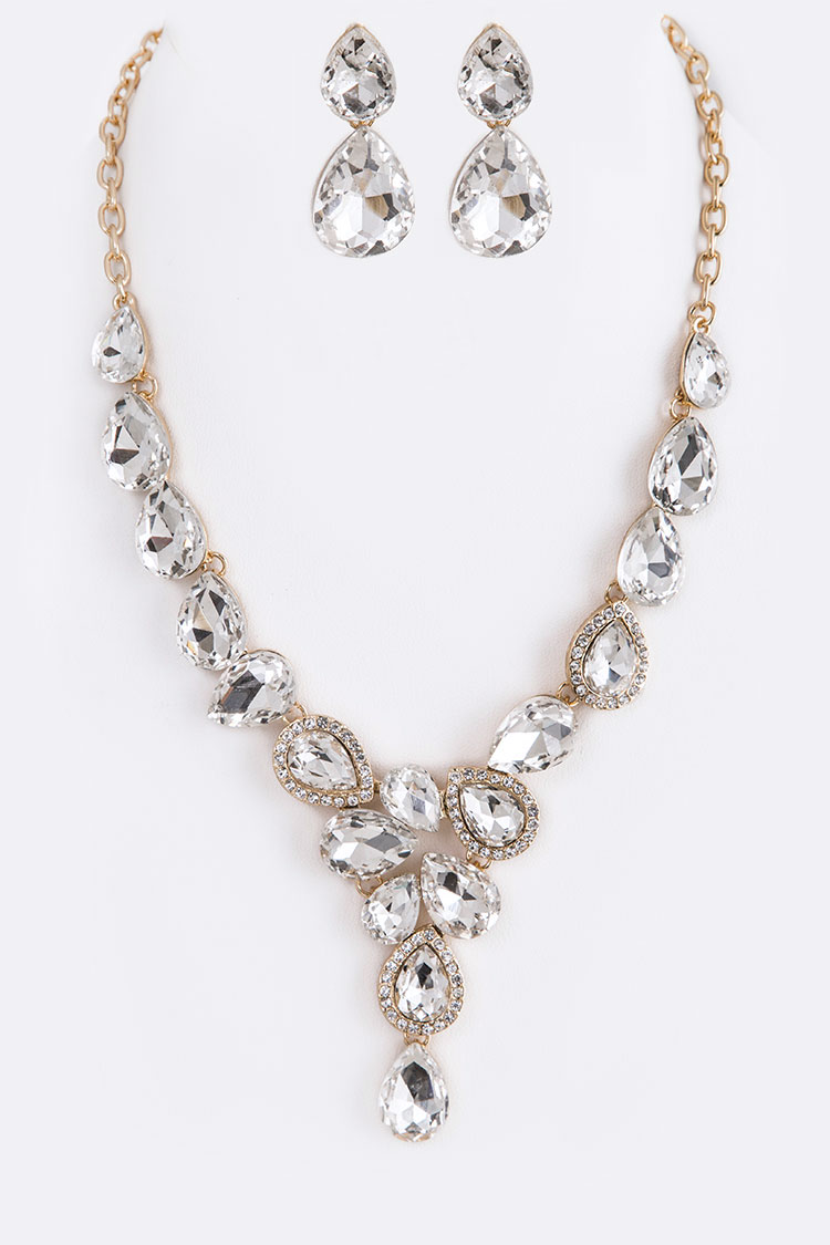 Crystal Teardrop Statement Necklace Set