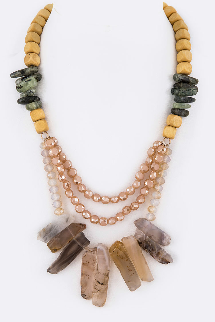 Genuine Stone Wooden Beads Iconic Necklace Set